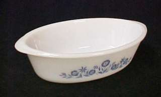 Milk White Glass Blue Flower Casserole Baking Dish Old