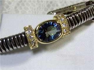 925 STERLING SILVER BLUE MYSTIC TOPAZ CUFF BRACELET   NEW