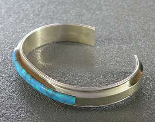 Native American Navajo Francilita Yazzie Sterling Silver Opal Cuff