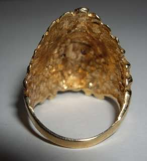 9k Yellow Gold Indian Chief Headress Ring Ruby Eyes Any Size