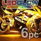 6pc YELLOW LED FLEXIBLE LED STRIP KIT MOTORCYCLE LIGHTS