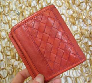 FOSSIL Womens Cute Small Red Leather Woven Detail Wallet
