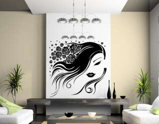 Ƹ̵̡Ӝ̵̨̄Ʒ Flower / Roses Hair Girl Vinyl Wall Sticker