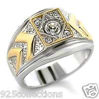 TWO TONE APRIL CLEAR CRYSTAL BIRTH STONE MENS RING JEWELRY SZ 8   13