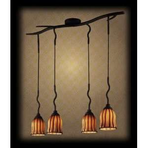 Elk Lighting 1609/4 Phoenix Ribbed Amber Glass 5 Light Wrought Iron