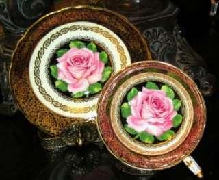 Simply Stunning Paragon COBALT BLUE GOLD PINK ROSES Tea Cup and Saucer