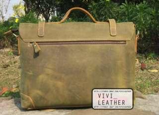 MENS LEATHER Business Work Large Vintage Laptop Satchel Messenger Bag