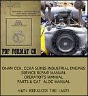 ONAN CCK CCKA INDUSTRIAL ENGINES SERVICE REPAIR MANUAL PARTS CATALOG