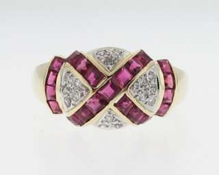 Fancy Natural Ruby Diamonds Band Solid 14k Gold Ring FREE Sizing