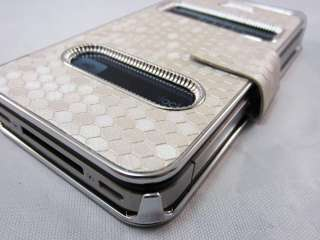 White Luxury Synthetic Leather Magnetic Flip Case Cover for iPhone 4