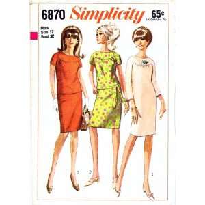 Simplicity 6870 Vintage Sewing Pattern Dress Top Skirt
