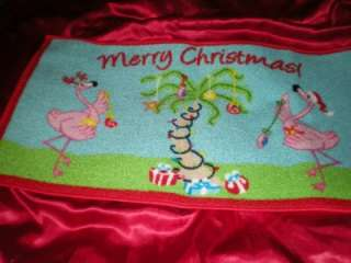 TROPICAL 2011 MERRY CHRISTMAS PINK FLAMINGOS and CRAZY PALM TREE