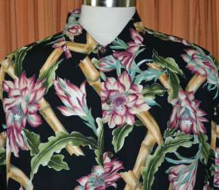 Tori Richard SHORT SLEEVE BLACK GREEN PINK CASUAL HAWAIIAN SHIRT MENS