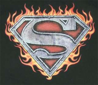 This t shirt features a metallic Superman logo in front of fire.
