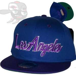 Los Angeles Script Blue/Purple Snapback Hat Cap