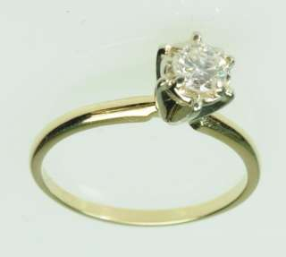 14K SOLID YELLOW GOLD DIAMOND SOLITAIRE ENGAGEMENT ESTATE RING J195111