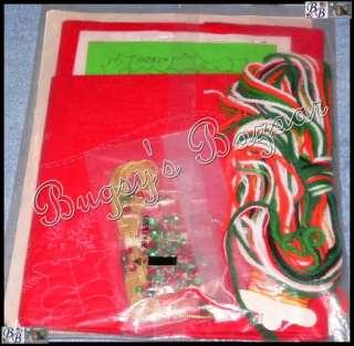 Bucilla HOLLY WREATH SANTA Crewel Felt Stocking Christmas Kit