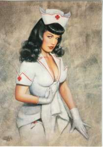 Bettie Page Nurse 4 x 6 Glossy Postcard Olivia Art 2004