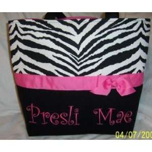 Monogrammed Hot Pink & Black Zebra Diaper Bag Baby