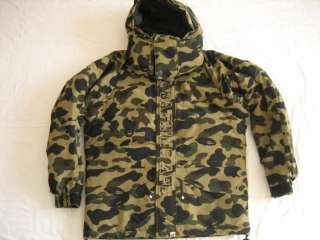 are bidding on Authentic A Bathing Ape Down camo Jumper in size L