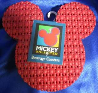 Mickey Mouse Head Red Drink Coasters waffle pad K4