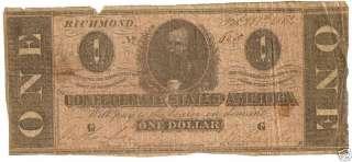 1864 $1.00 CONFEDERATE STATES AMERICA BILL (6363PMB)