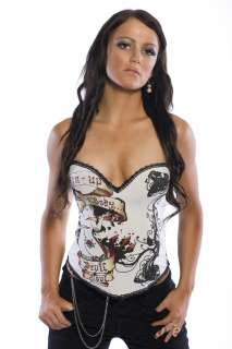 Goth Punk Rock Hook Tattoo Boned Corset Sparrow Sexy Devil Skull Wings