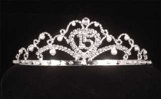 15th Fifteenth Birthday Rhinestone Crystal Pearl Tiara Crown