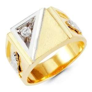 Mens 14k Yellow White Gold Band Religious Round CZ Ring Jewelry