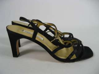ANN MARINO Black Beaded Strappy Sandals Heels Shoes 8.5