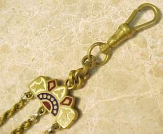 / German Hex Sign ~ Gold Filled Pocket Watch Chain Fob 6 3/8