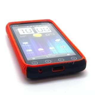 Black Red Dual Flex Hard Case Gel Cover For HTC Evo 3D