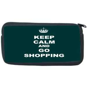 Keep Calm and Go Shopping   Green Color Neoprene Pencil