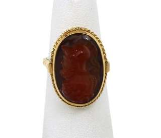 INTRICATE VINTAGE 14K GOLD HAND CARVED CAMEO BAND RING