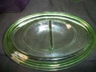 Vintage Depression Era Green Glass Oval Kitchen refrigerator Dish Lid