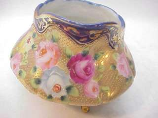 ANTIQUE NIPPON PORCELAIN CREAM SUGAR BOWL lid SET~ROSES