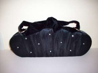Victorias Secret Black Satin Velvet Evening Bag Purse