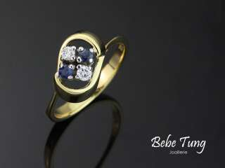BEBE TUNG 18K750 Yellow Gold Diamonds Sapphires Ring