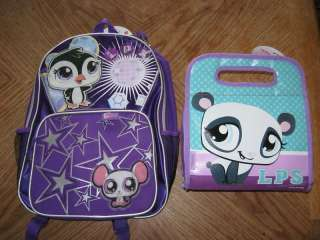 NEW GIRLS LITTLEST PET SHOP BACKPACK AND LUNCH BOX pur |