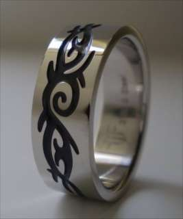 Stainless Steel Band Mens Black Tribal Ring Size 16