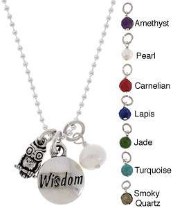 Charming Life Sterling Silver Wisdom, Owl and Gem Charm Necklace