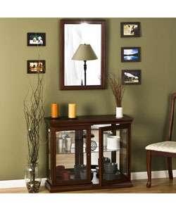 Mahogany Curio Cabinet and Wall Mirror