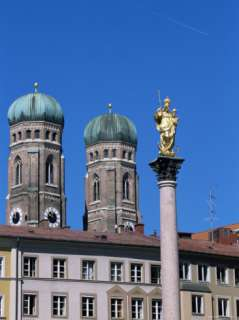 Frauenkirche Towers and Mariensaule (St. Marys Column), Munich