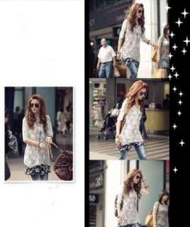 Korean Fashion Womens Two Piece Chiffon Lace Two piece Asymmetric