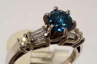 14000 1.56CT ROUND CUT BLUE DIAMOND ENGAGEMENT RING SIZE 6.75