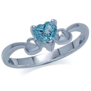 Blue Topaz Heart Shape 925 Sterling Silver Solitaire Ring
