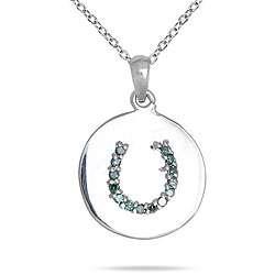 10k Gold 1/10ct TDW Blue Diamond Horseshoe Necklace