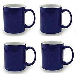 Ceramic Cobalt Navy Blue and White Coffee/ Tea Mugs (Pack of 4