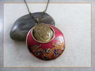 Chinese Dragon Red Gold Plated Cloisonne Brass Locket Pendant Necklace