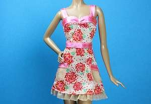 Coral Pink Poppy Red Green Print Sun Dress Barbie